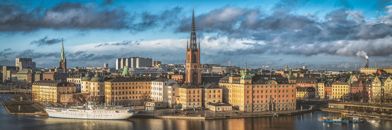 Wonderful aerial panorama from height of birds flight on observation deck on tower City Hall to Gamla Stan, Stockholm, Sweden stock image