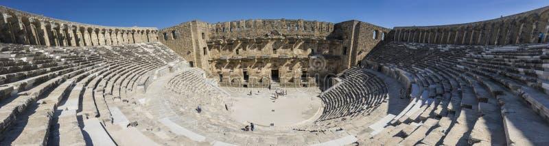 The wonderful amphitheatre of Aspendum, Turkey stock images