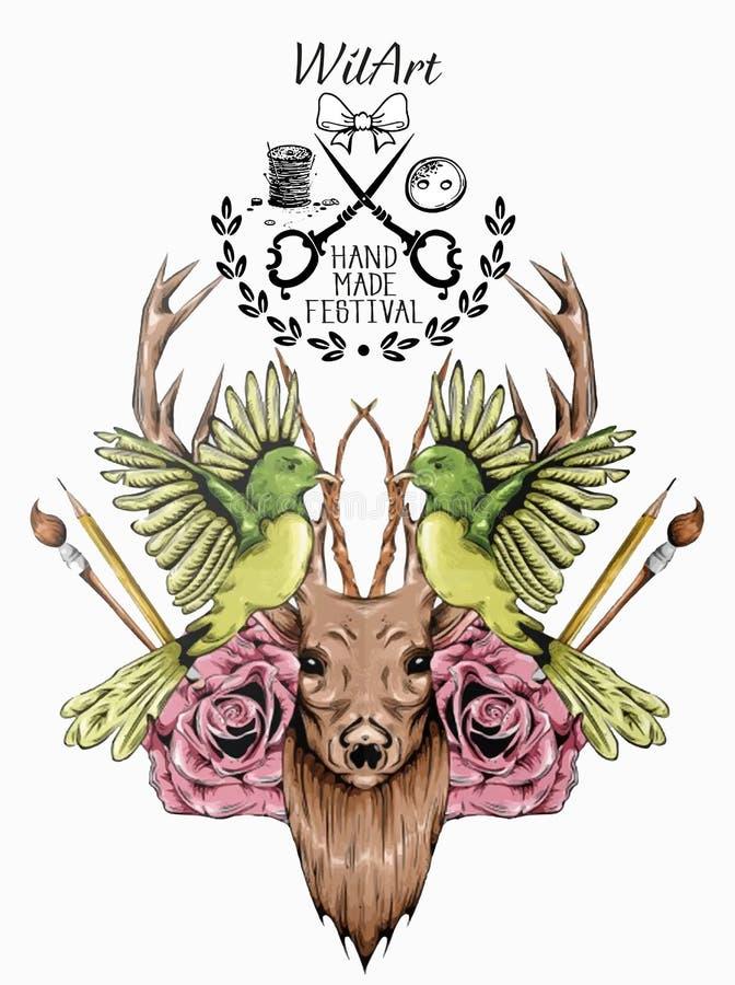 Wonderful Animal Deer Hand Made Watercolor in Vector illustration vector illustration
