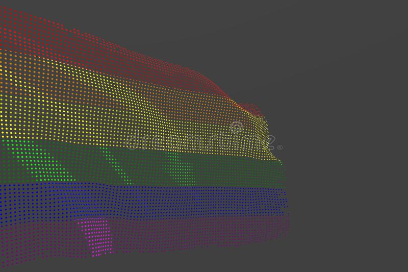 Wonderful anthem day flag 3d illustration - digital photo of Gay Pride isolated flag made of glowing dots wave on grey background vector illustration