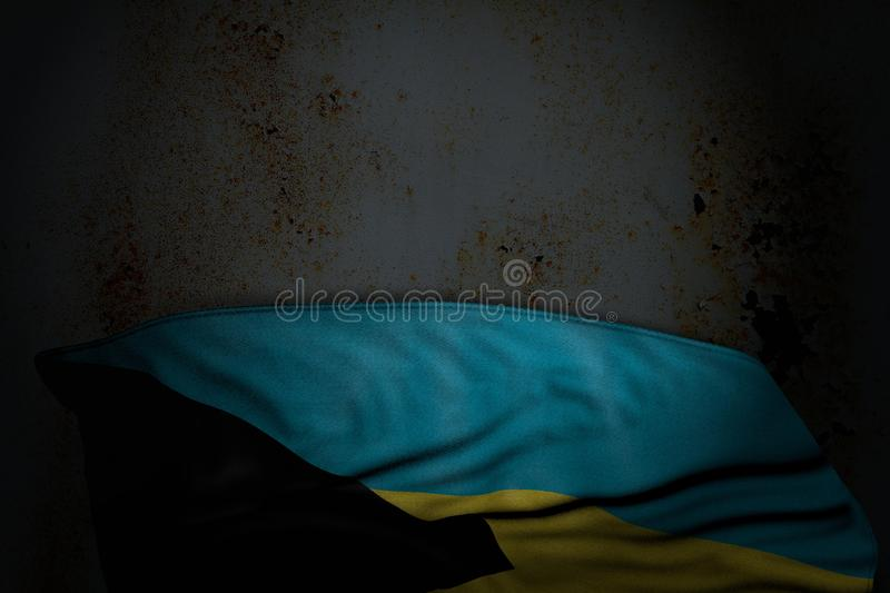 Wonderful any holiday flag 3d illustration - dark picture of Bahamas flag with large folds on rusty metal with empty space for vector illustration