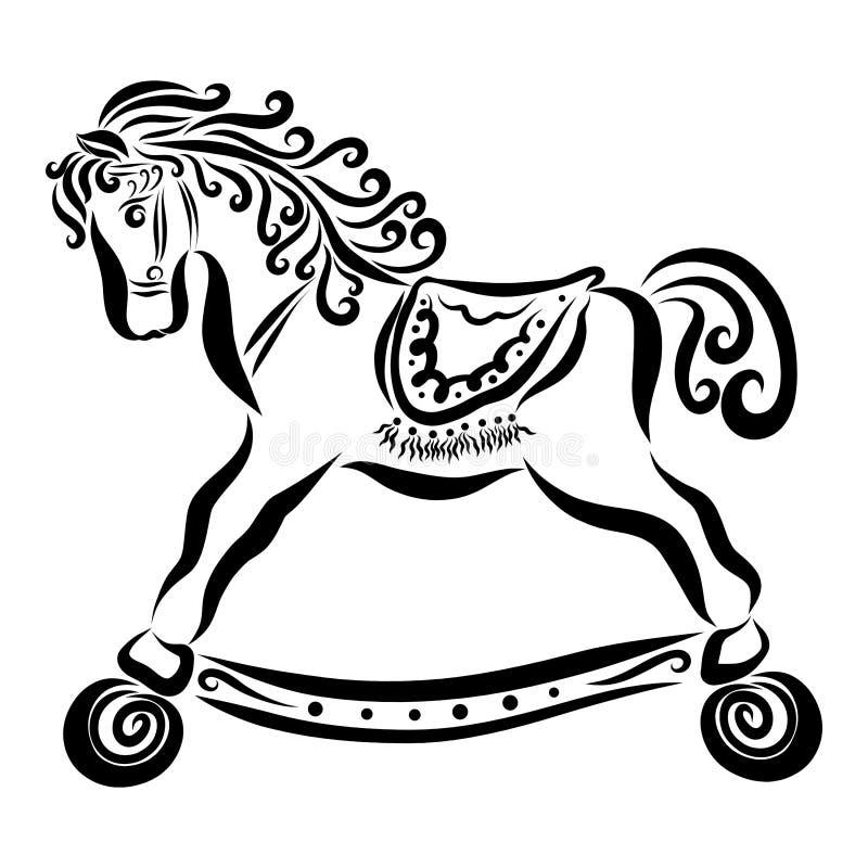 Wonderful baby horse on wheels with curly mane and saddle.  stock illustration