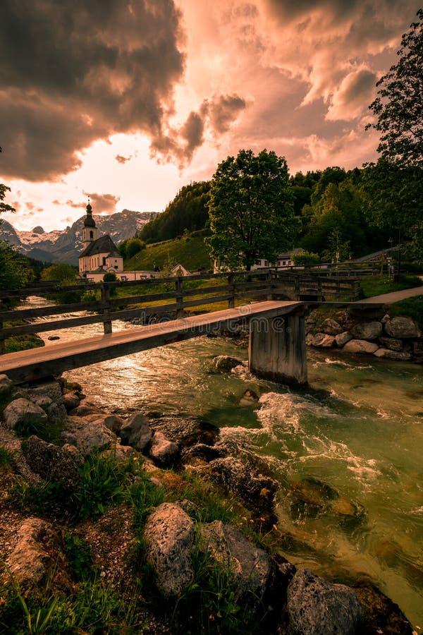 Wonderful Bavarian Alps landscape with Parish Church of St Sebastian - Ramsau, Berchtesgaden National Park - Germany stock image