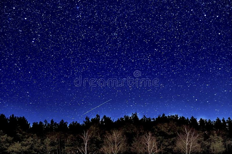 Wonderful Beautiful Night Sky Full Of Stars With Milky Way Over The River And Forest In Transparent April Night Stock Image Image Of Landscape Astronomy 162888081