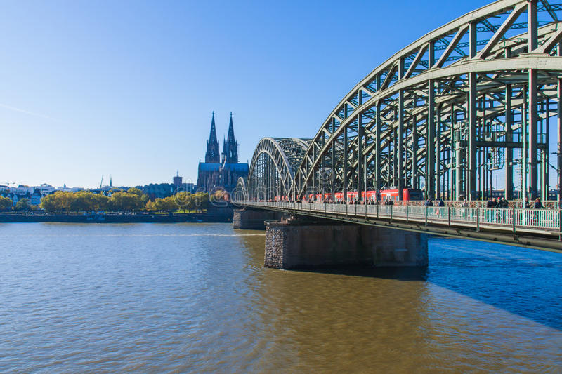 Wonderful bridge over Rhein river in Cologne. Bridge cross over Rhein river in Colonge under sun shine of Sunny day royalty free stock photos