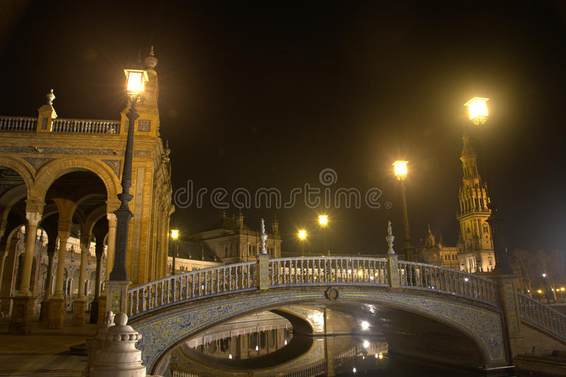 The lights of the Plaza de Espana in Seville. Lights in the night in Seville in spring royalty free stock images