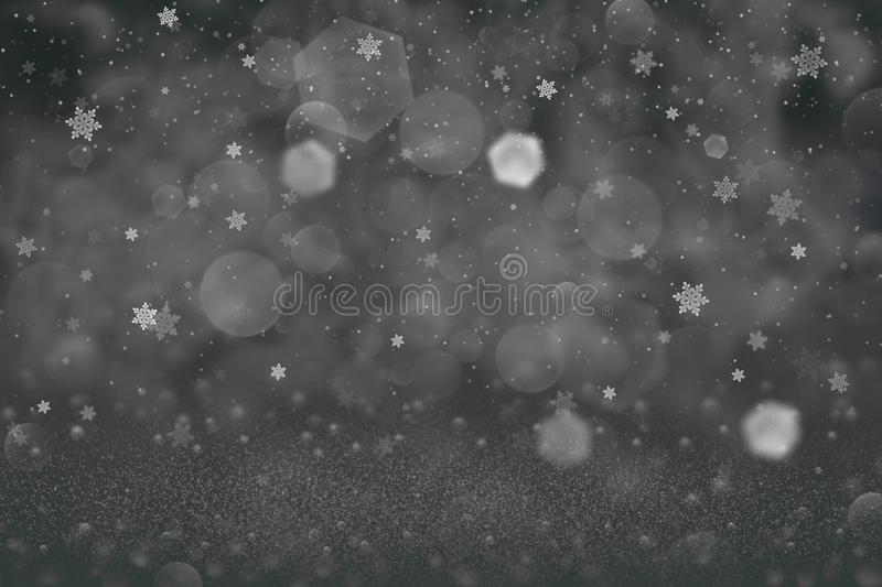 Wonderful glossy glitter lights defocused bokeh abstract background and falling snow flakes fly, festival mockup texture with. Wonderful bright abstract royalty free stock photography