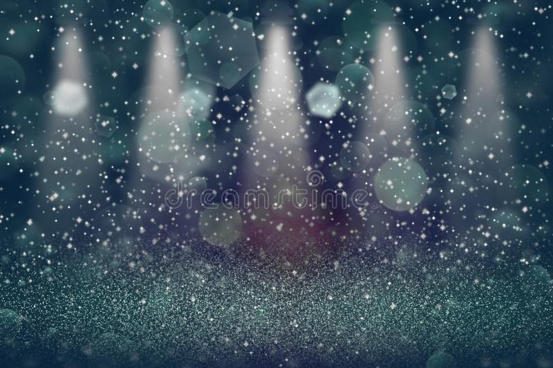 Wonderful bright abstract background stage spotlights with sparks fly defocused bokeh - festival mockup texture with blank space. For your content royalty free stock images
