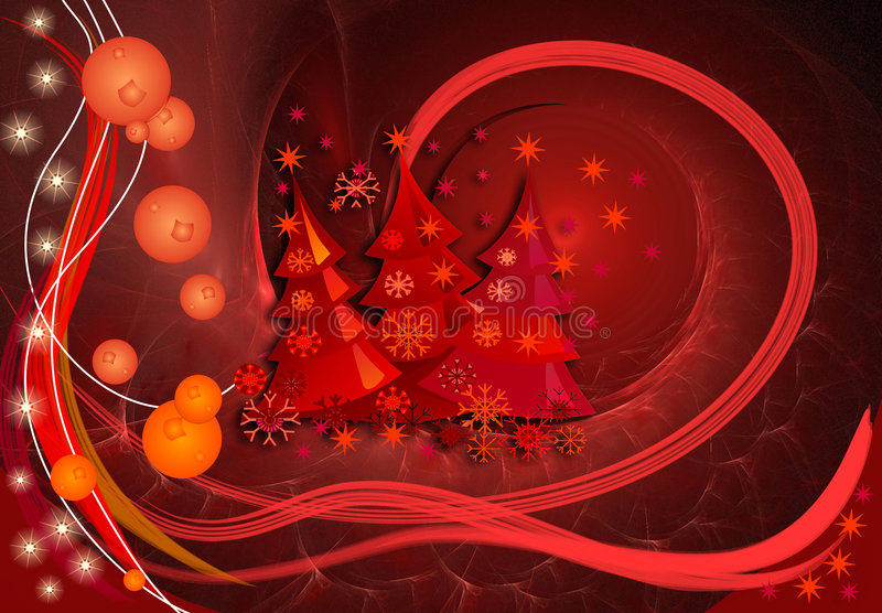 Wonderful Christmas. Red Christmas design / illustration with 3d effects lots of stars and decorative X-mas trees vector illustration