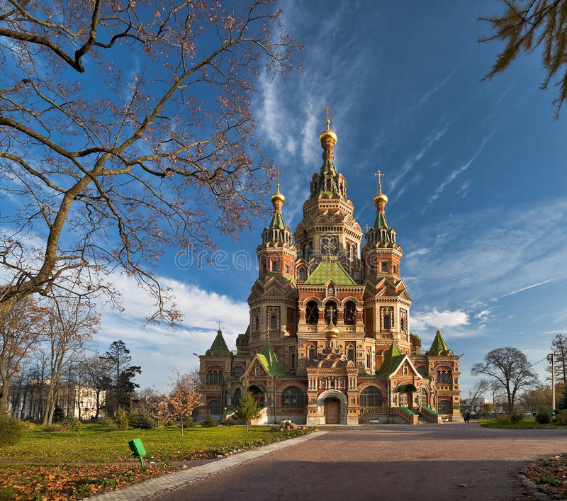 Wonderful church in Russia. Wonderful red brick church in Russia royalty free stock images