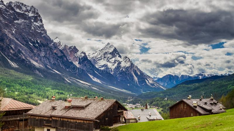 Wonderful city Cortina di Ampezzo in Dolomites mountains, Italy. Europe royalty free stock photography