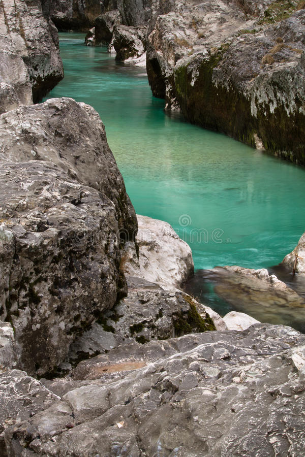 Wonderful colorful great canyon gorge of soca river, triglav national park, slovenia stock photography