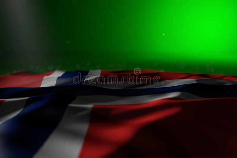 Wonderful dark illustration of Norway flag lying on green background with selective focus and empty place for text - any holiday. Beautiful day of flag 3d royalty free illustration