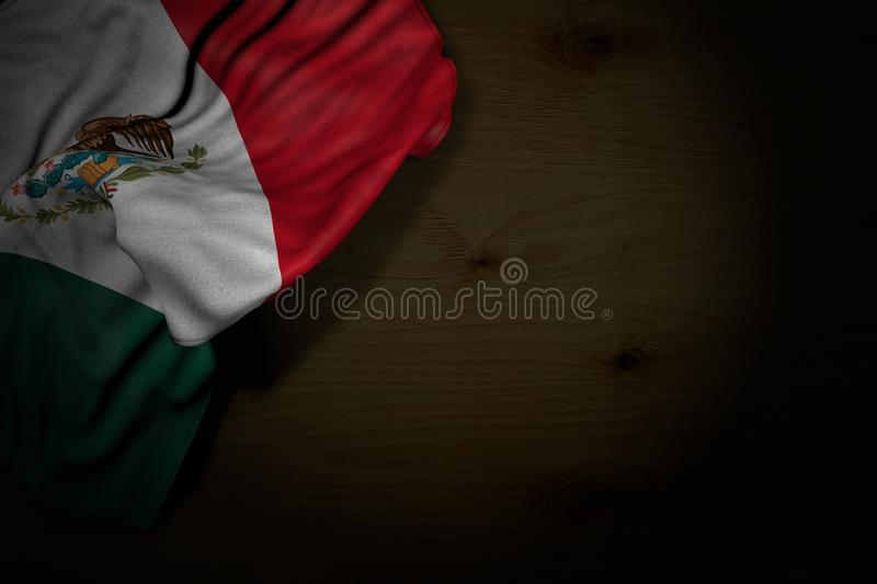 Wonderful dark image of Mexico flag with large folds on dark wood with empty space for text - any celebration flag 3d illustration royalty free illustration