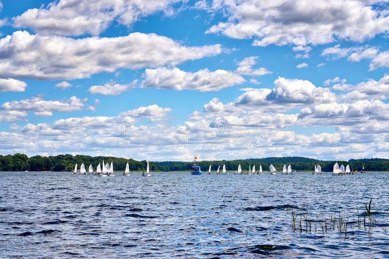 A wonderful day for a sailing yacht race on Lake Schwerin. Mecklenburg-Vorpommern, Germany stock photography