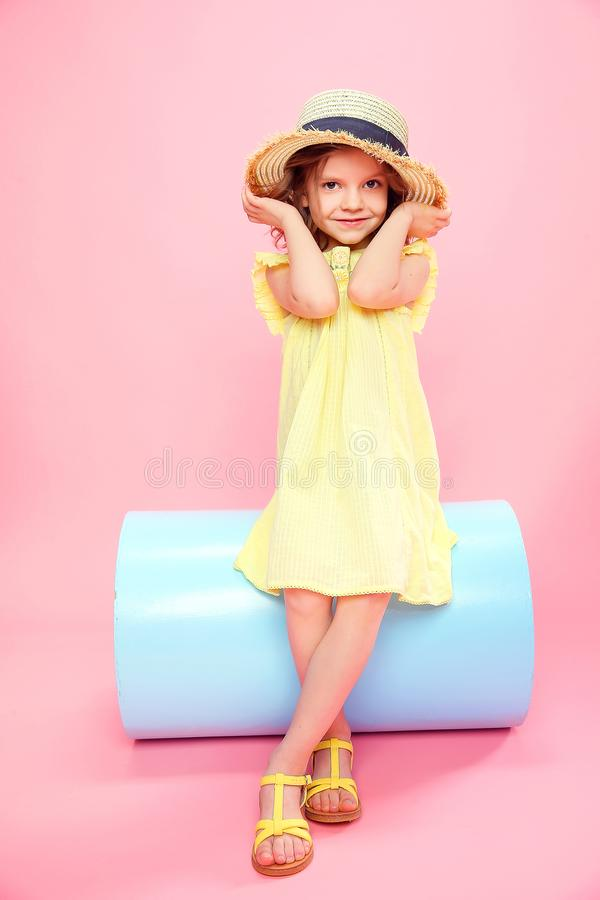 Wonderful girl in summer stylish outfit royalty free stock image