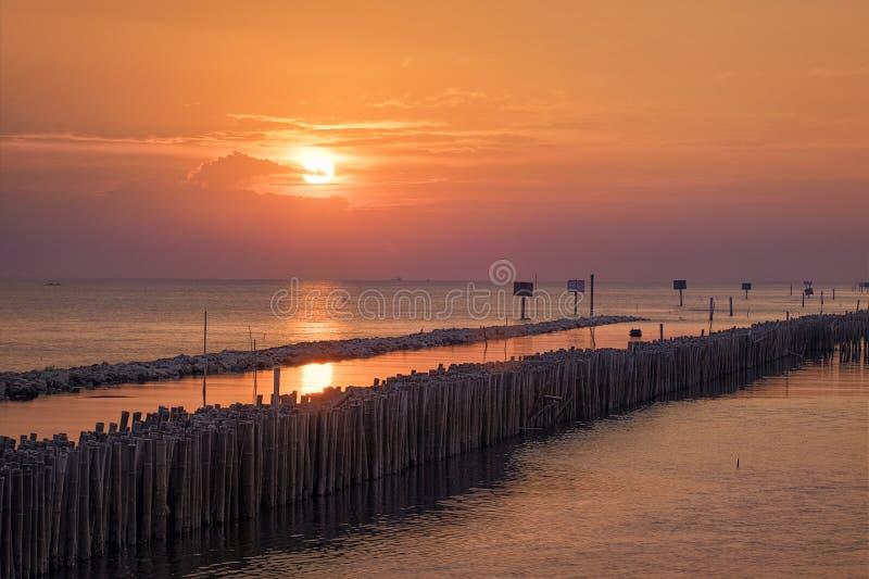 Wonderful golden sunset view on ocean at coastline, dramatic lighting royalty free stock image