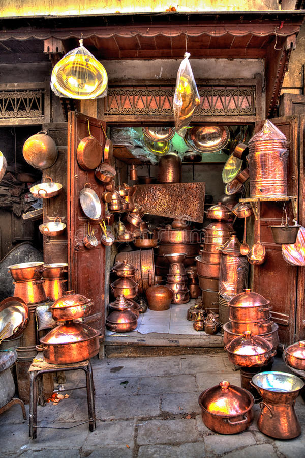 Wonderful handmade copper ware is exposed for sale stock photo
