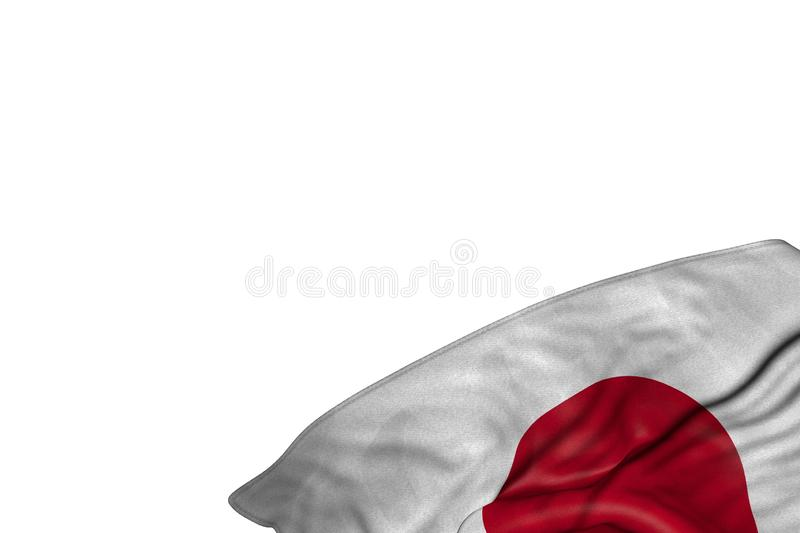 Wonderful Japan flag with large folds lying in bottom right corner isolated on white - any holiday flag 3d illustration. Cute memorial day flag 3d illustration royalty free stock photos