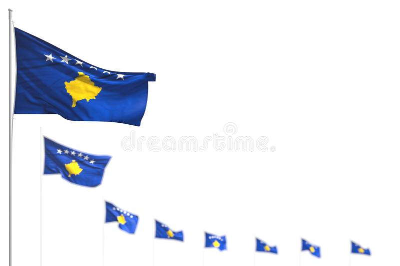 Wonderful any feast flag 3d illustration - Kosovo isolated flags placed diagonal, illustration with selective focus and place for stock illustration