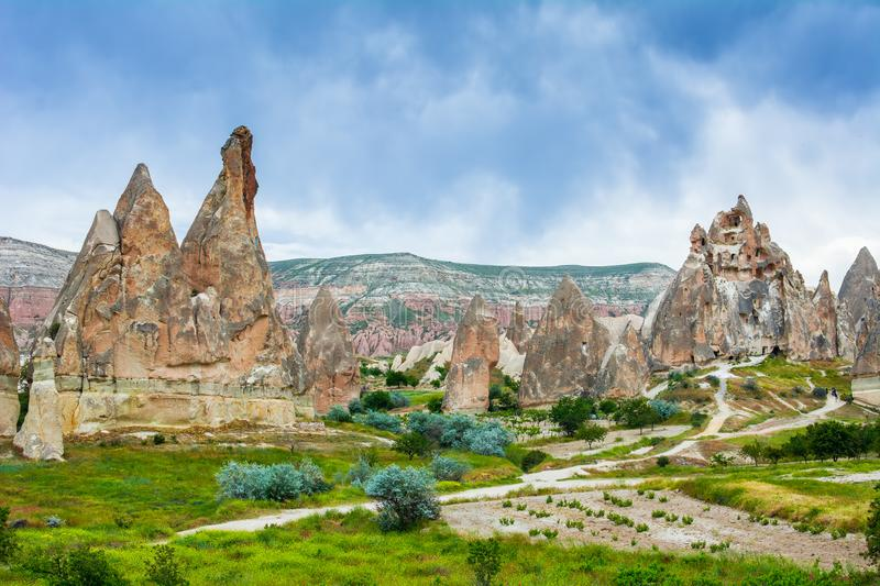 Wonderful landscape with ancient church at Cappadocia, Anatolia, Turkey. Volcanic mountains in Goreme national park. royalty free stock photography