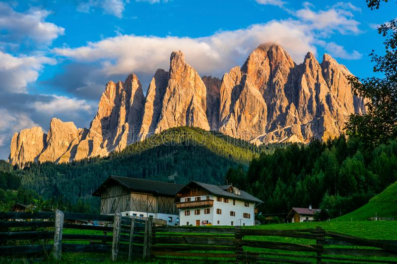 Wonderful landscape of Dolomite Alps during sunset. Location: Val Di Funes, Dolomites, Italy. Amazing nature background. Artistic royalty free stock images