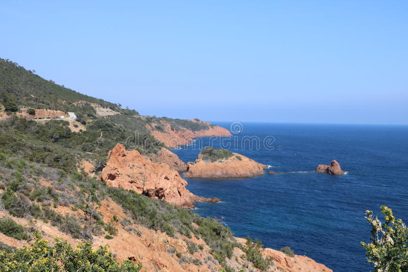 Wonderful landscape of the Esterel Mountain in French Riviera, Var, France. stock photos