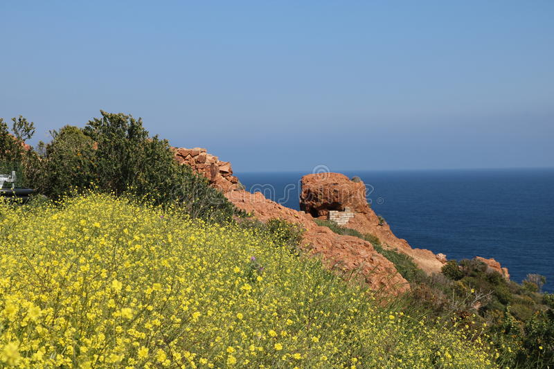 Wonderful landscape of the Esterel Mountain in French Riviera, Var, France. stock photo