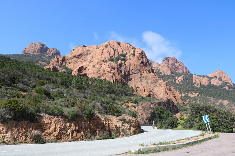 Wonderful landscape of the Esterel Mountain in French Riviera, Var, France. stock image