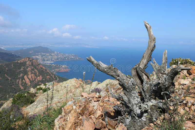 Wonderful landscape of the Esterel Mountain in French Riviera, Var, France. stock photography