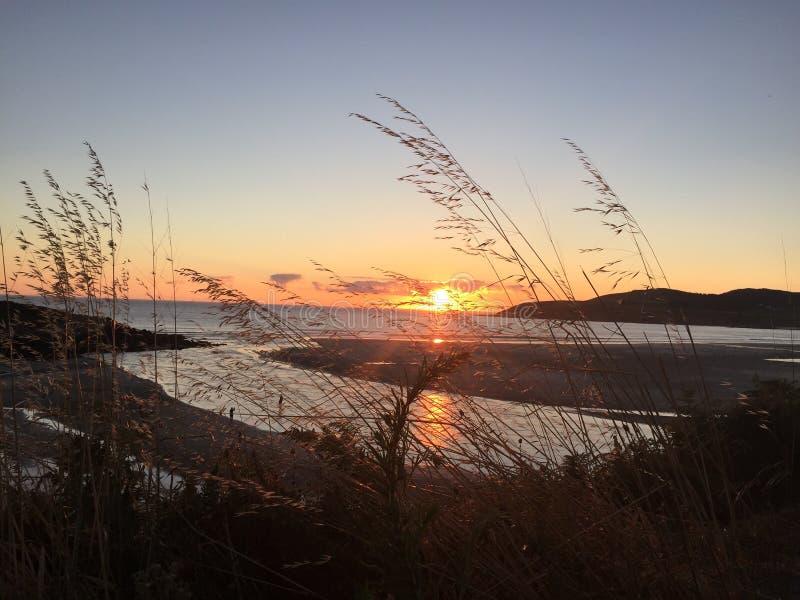 Wonderful landscape of the Spanish Shore at sunset. Hermoso atardecer en el mar. stock photo