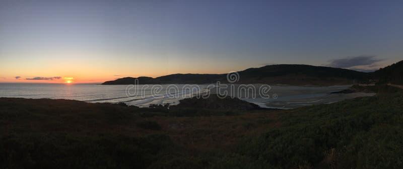 Wonderful landscape of the Spanish Shore at sunset. Hermoso atardecer en el mar. royalty free stock photo