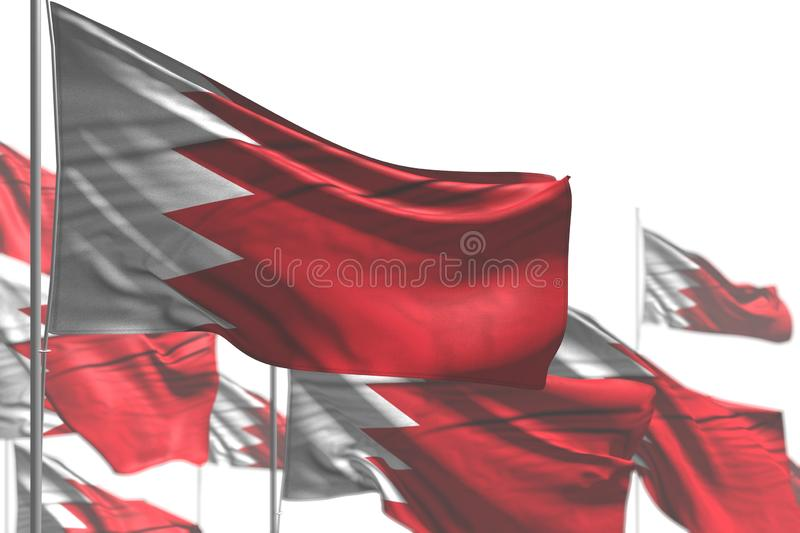 Wonderful many Bahrain flags are waving isolated on white - photo with selective focus - any feast flag 3d illustration. Beautiful any occasion flag 3d vector illustration