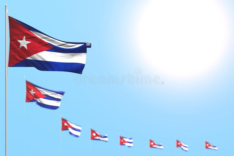 Wonderful many Cuba flags placed diagonal with bokeh and free space for text - any feast flag 3d illustration. Pretty any occasion flag 3d illustration stock illustration