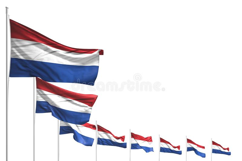 Wonderful many Netherlands flags placed diagonal isolated on white with space for content - any occasion flag 3d illustration. Wonderful memorial day flag 3d vector illustration