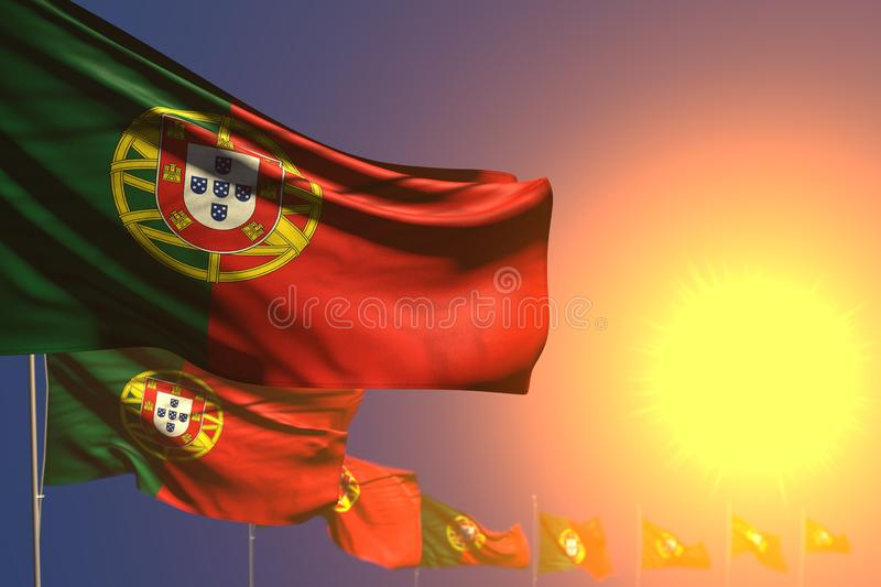 Cute anthem day flag 3d illustration - many Portugal flags on sunset placed diagonal with selective focus and space for your. Wonderful many Portugal flags on royalty free illustration