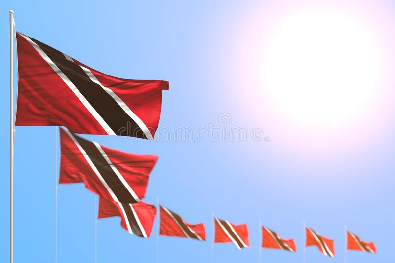 Wonderful many Trinidad and Tobago flags placed diagonal with selective focus and empty space for content - any feast flag 3d royalty free illustration