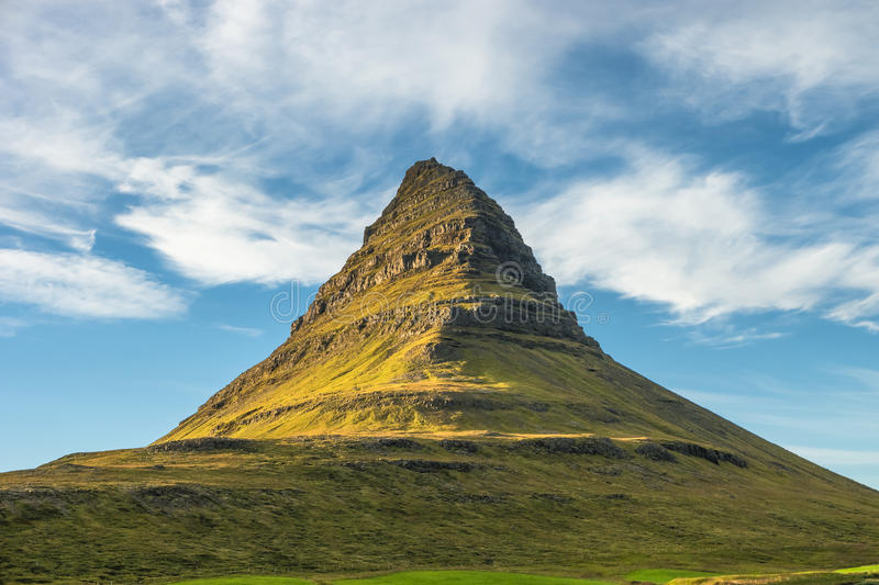 Wonderful mountain Kirkjufell in Iceland, summer time. 2016 royalty free stock photography