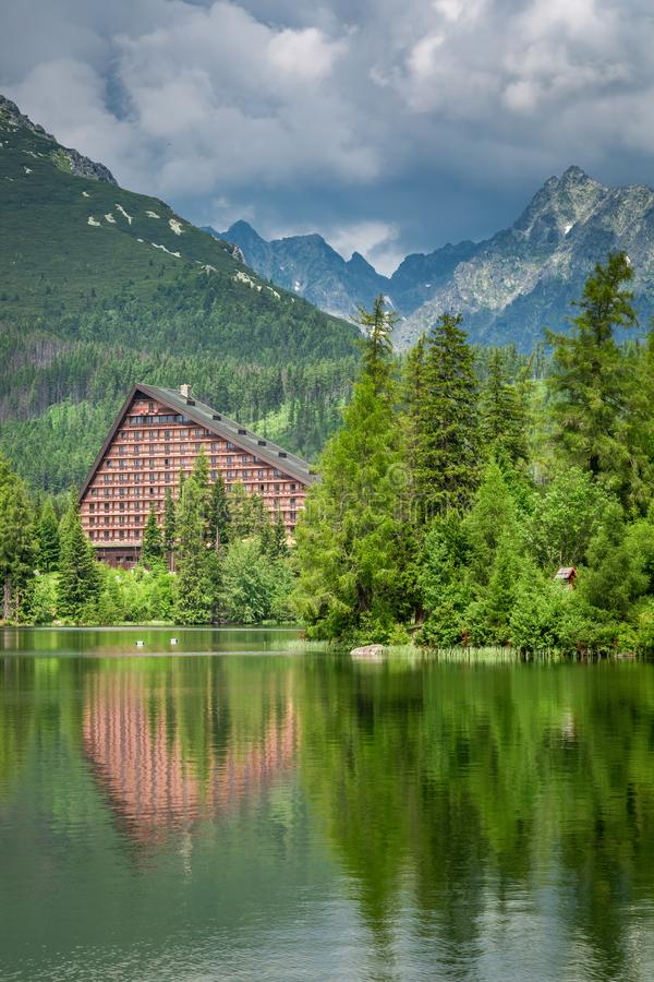 Wonderful mountain lake in Strbske Pleso, Slovakia. Europe royalty free stock photography