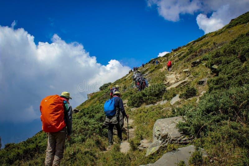 Wonderful Mountains of Himachal Pradesh,India. Trekking in the mountains of Himachal Pradesh in India in groups stock photos