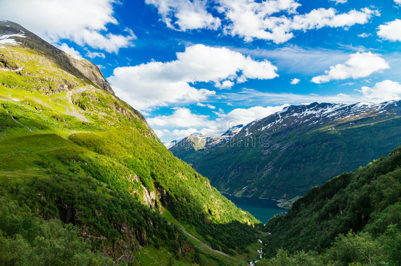 Wonderful mountains and slopes near Geirangerfjord. By sunny summer day, Norway stock photos