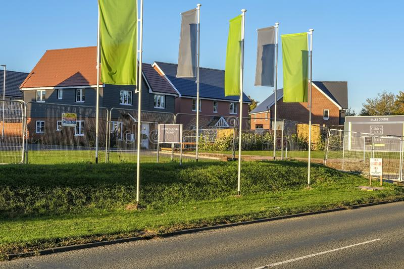 Wonderful new houses. View of newly built houses and affordable homes on a new housing estate stock photography