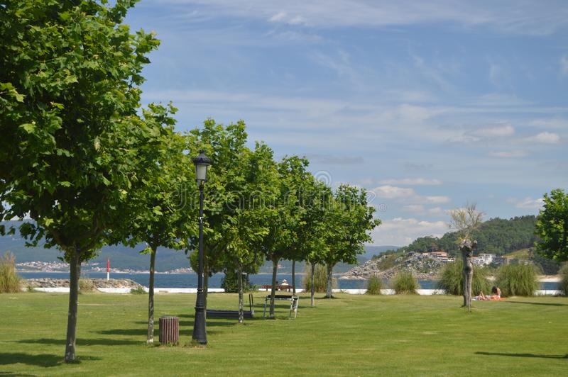 Wonderful Park With Sea Views In Puerto Del Son. Nature, Architecture, History, Street Photography. August 19, 2014. Porto Do Son royalty free stock photos