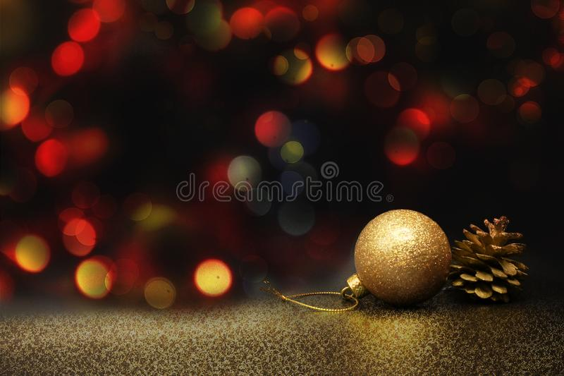 Golden ball decoration on bokeh background. A wonderful photo of a Christmas close up decorations on a bokeh background royalty free stock images