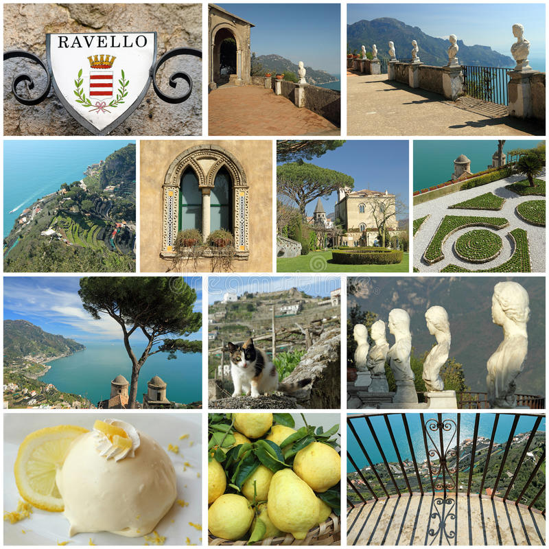Wonderful Ravello on Amalfi coast. Group of images from Ravello on Amalfi coast,Italy royalty free stock photos