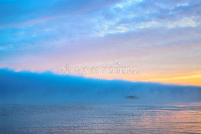 Download Wonderful River With Large Cloud Of Blue Mist Stock Image - Image: 26923603
