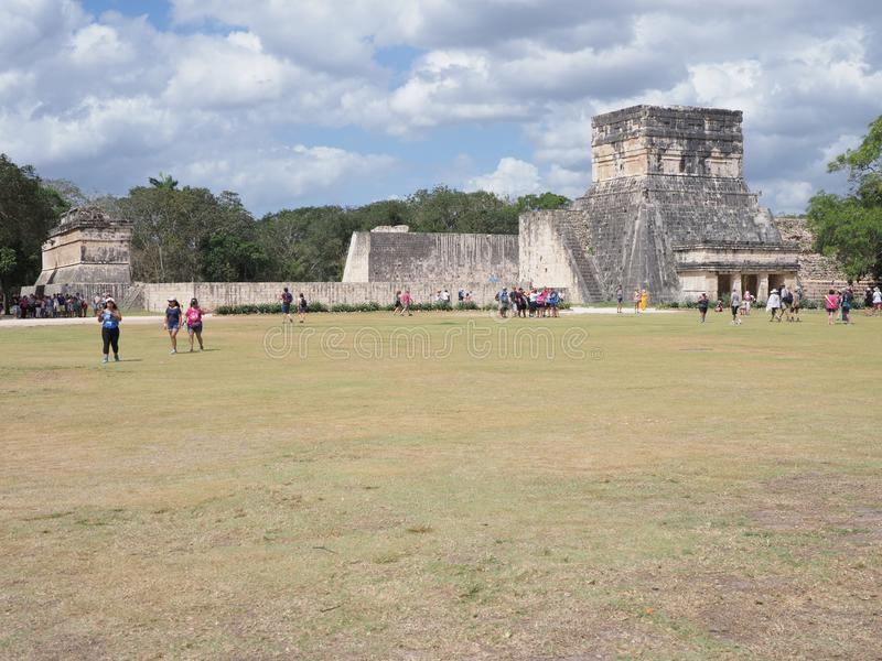 Wonderful ruins of great ball court buildings on Chichen Itza in Mexico, largest and most impressive in country stock photos