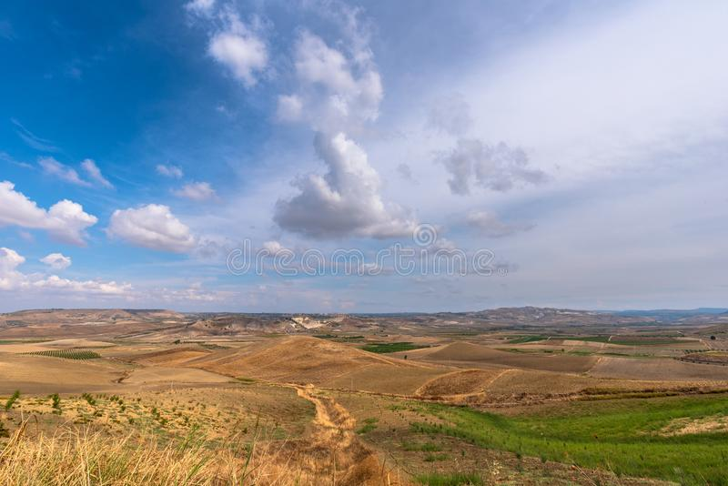 Wonderful Sicilian Scenery During a Cloudy Day, Mazzarino, Caltanissetta, Sicily, Italy, Europe. Sicilian Landscape royalty free stock photo
