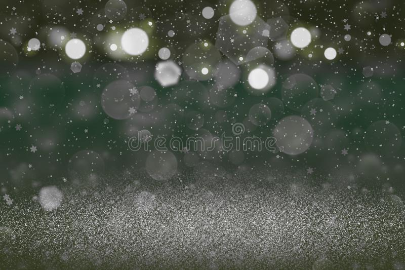 Wonderful sparkling glitter lights defocused bokeh abstract background with falling snow flakes fly, holiday mockup texture with. Wonderful sparkling abstract stock images