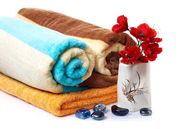 Wonderful Stones ,vase With Flowers And Towels. Stock Photo